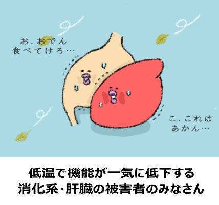 低体温によりもたらされる、内臓の機能低下