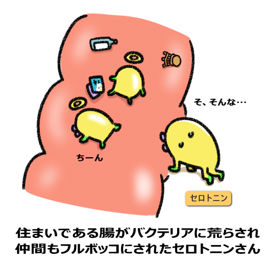 お住まいの腸がバクテリアに荒らされ お仲間がフルボッコにされたセロトニンさん