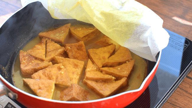 幸福な旨さ!激沁み厚揚げの絶品生姜蜂蜜カレー煮物(糖質8.9g)