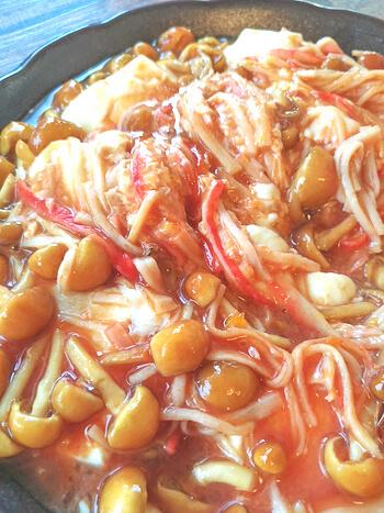 国際カニカマDAY!白だしケチャップの濃厚餡かけ蟹豆腐(糖質7.8g)