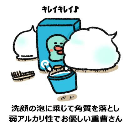 洗顔の泡に乗じて角質を落とし 弱アルカリ性でお優しい重曹さん
