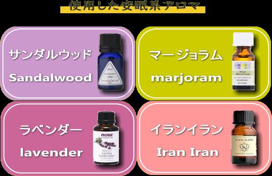 『サンダルウッド』『マージョラム』『ラベンダー』『イランイラン』