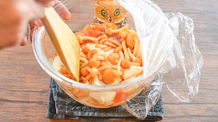 驚く食感!レンチン爆速の甘旨キムチなめこ麻婆豆腐(糖質7.6g)