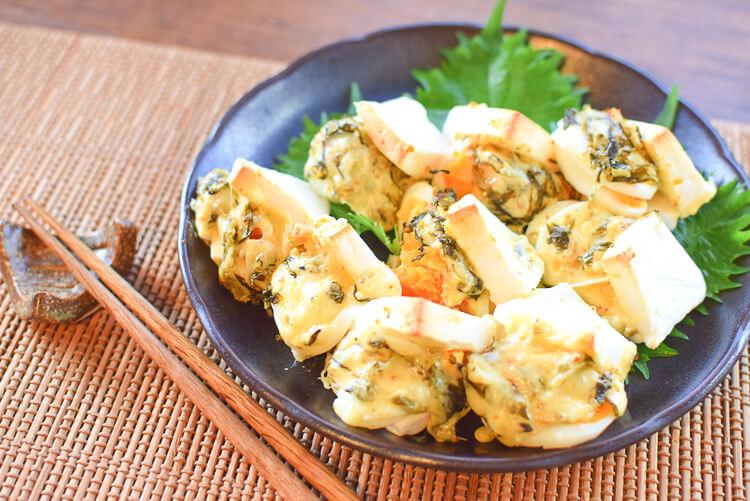 超おつまみ感!甘すぎないフワ旨高菜一味チーズ卵はんぺん(糖質7.3g)