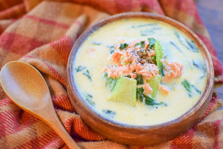 小麦粉・片栗粉不要!鮭青梗菜の濃厚豆乳クリームチーズ煮(糖質6.2g)