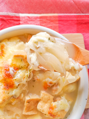 旨さご満悦!隅々まで旨い厚揚げオニオンスープチーズグラタン(糖質5.7g)