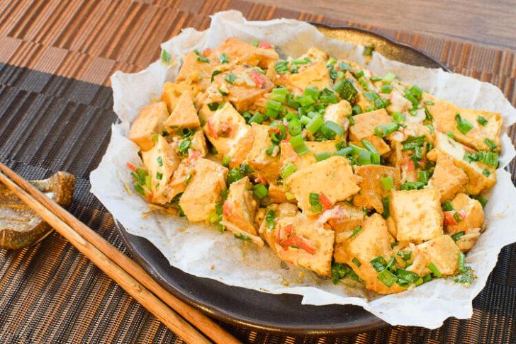 美味しさパーティサイズ!葱カニ味噌風オーブン厚揚げ焼き(糖質3.8g)