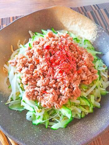 レンチン満腹!極細胡瓜もやしの驚きジャージャーサラダ(糖質8.3g)
